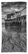 Low Tide At Orchard Beach Black And White Beach Towel by Jerry Fornarotto