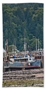 Low Tide Fishing Boat Beach Towel
