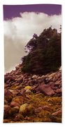 Low Tide Shoreline Closeup With Clouds Beach Towel