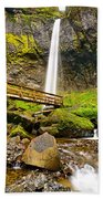 Lower Angle Of Elowah Falls In The Columbia River Gorge Of Oregon Beach Towel