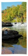 Lower Falls And Stream Beach Towel