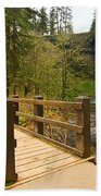 Lower South Waterfall With Footbridge In Oregon Columbia River Gorge. Beach Towel