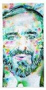 Luciano Pavarotti - Watercolor Portrait Beach Towel