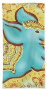 Lucky Elephant Turquoise Beach Towel
