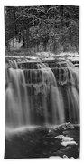 Ludlowville Falls In Winter I Beach Towel