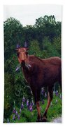 Lupine Loving Moose Beach Towel