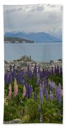 Lupins By The Lake Beach Towel