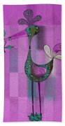 Lutgarde's Bird - 061109106-purple Beach Towel