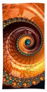 Luxe Fractal Spiral Brown And Blue Beach Towel