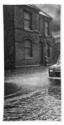 Lye Rain Storm, Morris Mini Car - 1960's    Ref-246 Beach Towel