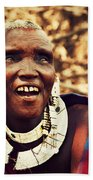 Maasai Old Woman Portrait In Tanzania Beach Towel