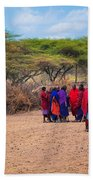 Maasai People And Their Village In Tanzania Beach Towel