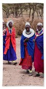 Maasai Women In Front Of Their Village In Tanzania Beach Towel