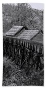 Mabry Mill Water Shute In Black And White Beach Towel