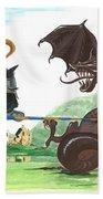 Macduff And The Dragon Beach Towel by Margaryta Yermolayeva
