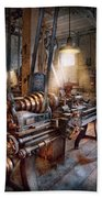 Machinist - Fire Department Lathe Beach Towel by Mike Savad