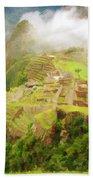 Machu Picchu Textured 2 Beach Towel