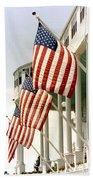 Mackinac Island Michigan - The Grand Hotel - American Flags Beach Towel