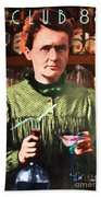 Madame Marie Curie Shaking Up A Killer Martini At The Swank Hipster Club 88 20140625 With Text Beach Towel