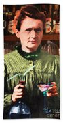 Madame Marie Curie Shaking Up A Killer Martini At The Swank Hipster Club 88 20140625 Beach Towel