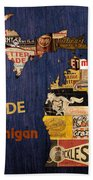 Made In Michigan Products Vintage Map On Wood Beach Towel