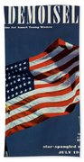 Mademoiselle Cover Featuring The U.s. Flag Beach Sheet