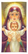 Madonna And Baby Jesus Beach Towel by Zorina Baldescu