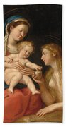 Madonna And Child With Mary Magdalene  Beach Sheet