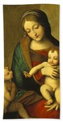 Madonna And Child With The Infant Saint John Beach Towel by Antonio Allegri Correggio