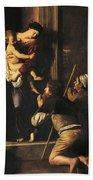 Madonna Dei Pellegrini Or Madonna Of Loreto Beach Towel by Michelangelo Merisi da Caravaggio