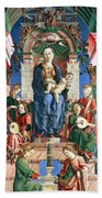 Madonna With The Child Enthroned  Beach Sheet