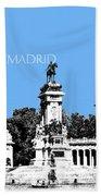 Madrid Skyline Retiro Park - Light Blue Beach Towel