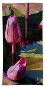 Magenta Lily Pads Beach Towel