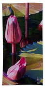 Magenta Lily Pads Beach Sheet