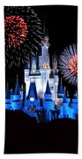 Magic Kingdom Castle In Blue With Fireworks Beach Towel