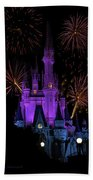 Magic Kingdom Castle In Purple With Fireworks 03 Beach Towel
