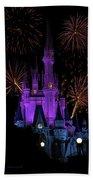 Magic Kingdom Castle In Purple With Fireworks 03 Beach Towel