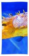Magic Puffer - Fish Art By Sharon Cummings Beach Sheet