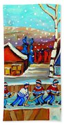 Magical Pond Hockey Memories Hockey Art Snow Falling Winter Fun Country Hockey Scenes  Spandau Art Beach Towel