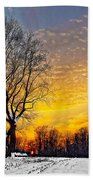 Magical Winter Sunset Beach Towel