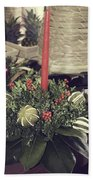 Magnolia Christmas Candle Colonial Williamsburg Beach Towel