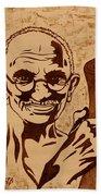 Mahatma Gandhi Coffee Painting Beach Towel