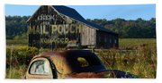 Mail Pouch Barn And Old Cars Beach Towel