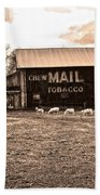 Mail Pouch Tobacco Barn And Sheep Beach Towel