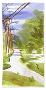 Main Street On A Cloudy Summers Day Beach Towel