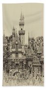 Main Street Sleeping Beauty Castle Disneyland Heirloom 03 Beach Towel