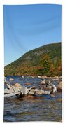 maine 1 Acadia National Park Jordan Pond in Fall Beach Towel
