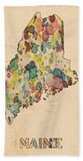 Maine Map Vintage Watercolor Beach Towel