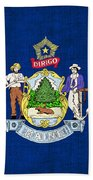 Maine State Flag Beach Towel by Pixel Chimp