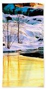 Maine Winter Along The Androscoggin River Beach Towel